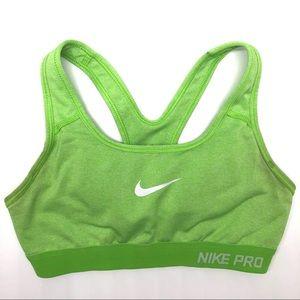 Nike Pro sports bra. Lime green XS